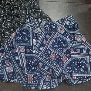 Lot 2 EUC girls size 7 circle skirt blue and black